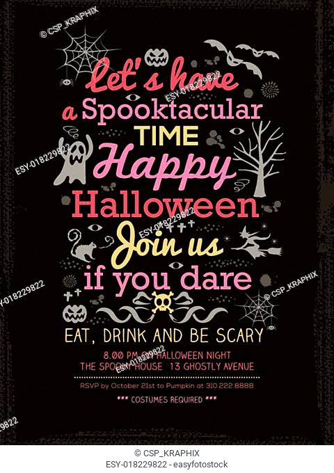 Halloween Party typography Invitation Template for Card-Poster-Flyer