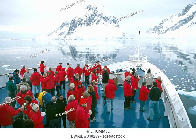 tourist ship in the Lemaire Channel, Antarctica