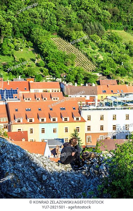 Aerial view from so called Goat Hill on Mikulov town, Moravia region, Czech Republic