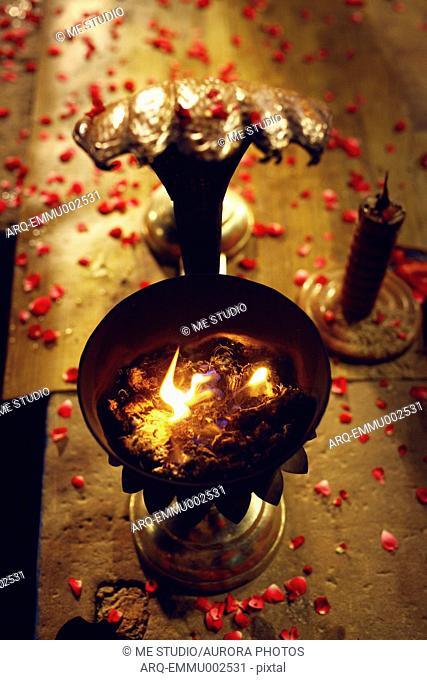 Candle light at night ceremony, Varanasi, Uttar Pradesh, India