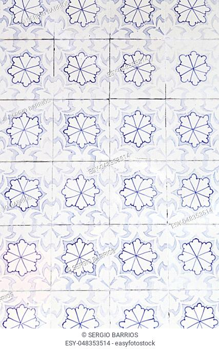 Wall tiles with typical old Lisbon, detail of traditional decoration of Portugal, ceramic art