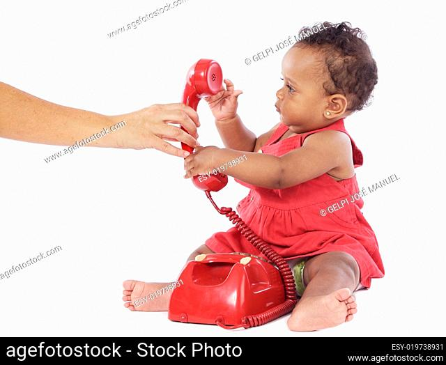 Baby girl with phone