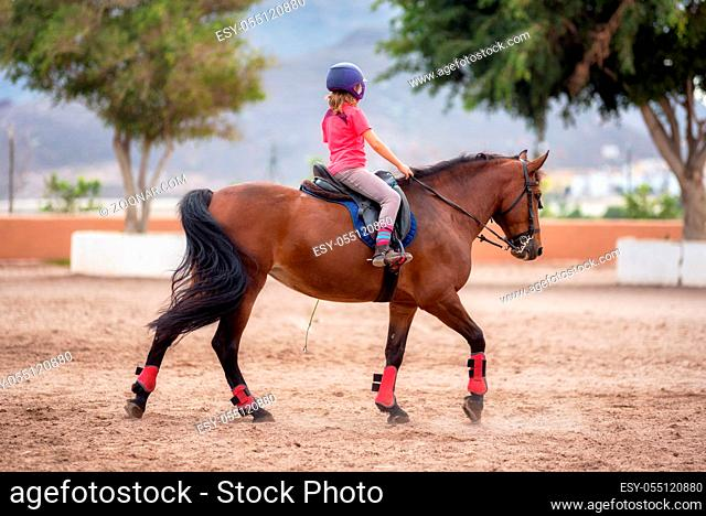unidentifiable small girl riding a horse