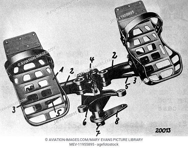 Luftwaffe Messerschmitt Me-163 Komet Rudder Pedals Technical-Drawing Diagram