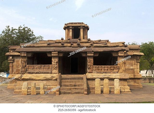 Front view of Lad Khan temple, Aihole, Bagalkot, Karnataka, India. Kontigudi group of temples. This is the oldest temple of Aihole