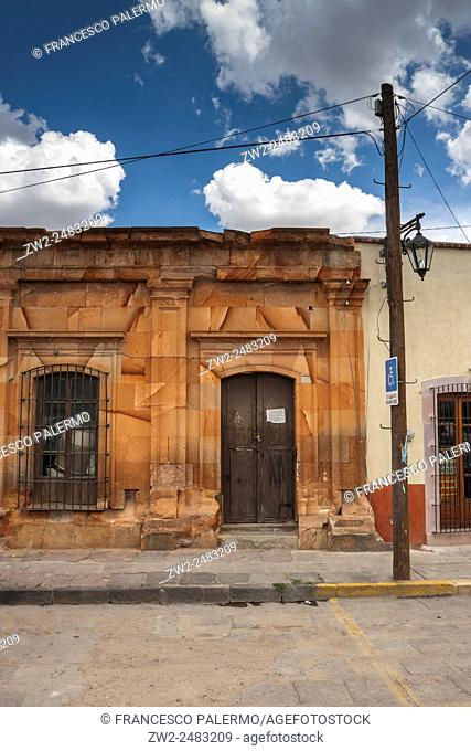 Typical house made with cantera red rock. Zacatecas, ZAC. Mexico
