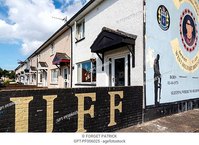 MURALS ON THE WALLS OF A HOUSE ON SHANKILL ROAD (UDU, UFF, UDA), HOPEWELL CRESCENT, WESTERN PROTESTANT QUARTER, BELFAST, ULSTER, NORTHERN IRELAND