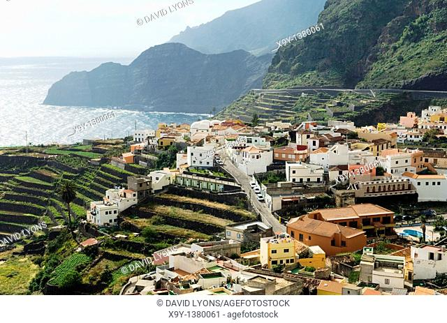 La Gomera, Canary Islands, Spain  Looking east over the town of Agulo