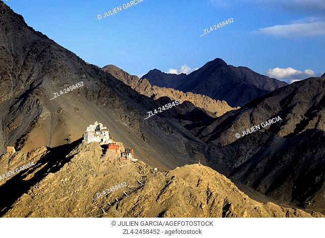 India, Jammu and Kashmir State, Himalaya, Ladakh, Indus valley, Tsemo gompa (Buddhist monastery) above the town of Leh