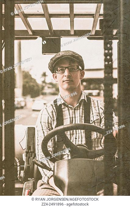 Retro stylised forklift driver operating heavy lift machinery at a pick and pack warehouse. Picking stock