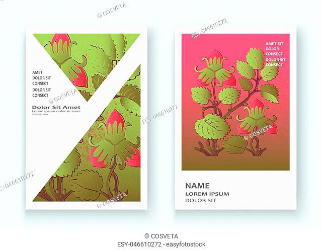 Strawberry pattern design templates product. Hand drawn red berry. Cute trendy dark background blossom greenery bush. Graphic illustration wedding, invitation
