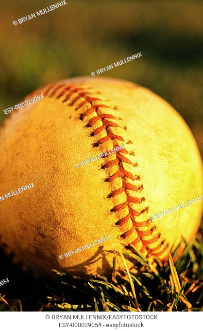 Detail of baseball in afternoon light