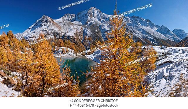 Panorama, mountain, mountains, autumn, Valais, Wallis, Switzerland, Europe, snow, mountain lake, larches, grande Dent de Veisiv, Dent de Perroc