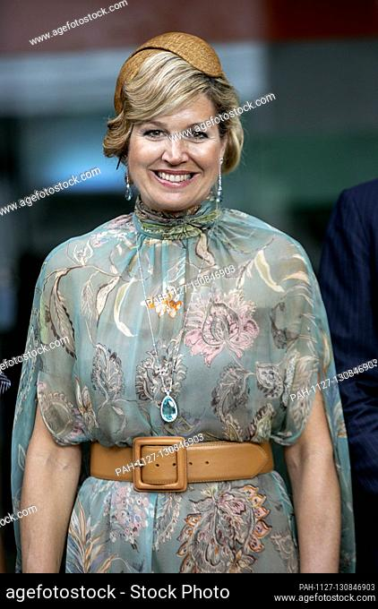 Queen Maxima of The Netherlands at the Pipiltin chocolate factory in Jakarta, on March 10, 2020, Pipiltin Cocoa was founded by Tissa Aunilla