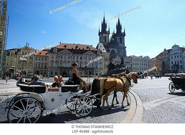 Carriage, Market Square, Teyn Church, Oldtown, Prague, Czech Republic