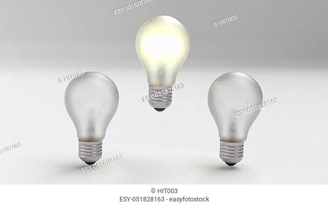 group of bulbs 3d render