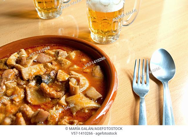 Callos a la Madrileña serving. Close view. Madrid, Spain
