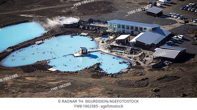 Geothermal hot springs- Myvatn Nature baths, Northern Iceland  The water supply for the Myvatn Geothermal hot springs come from the Power Company's bore hole in...