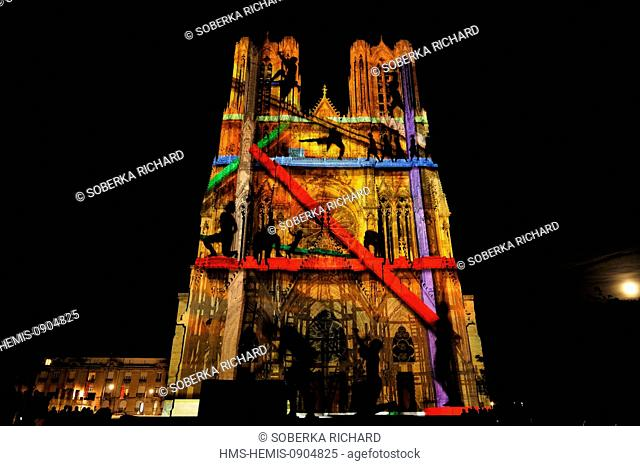 France, Marne, Reims, Notre Dame Cathedral listed as World Heritage by UNESCO, ssound and light show Dreams of colors created by the Company Skertzo projecting...