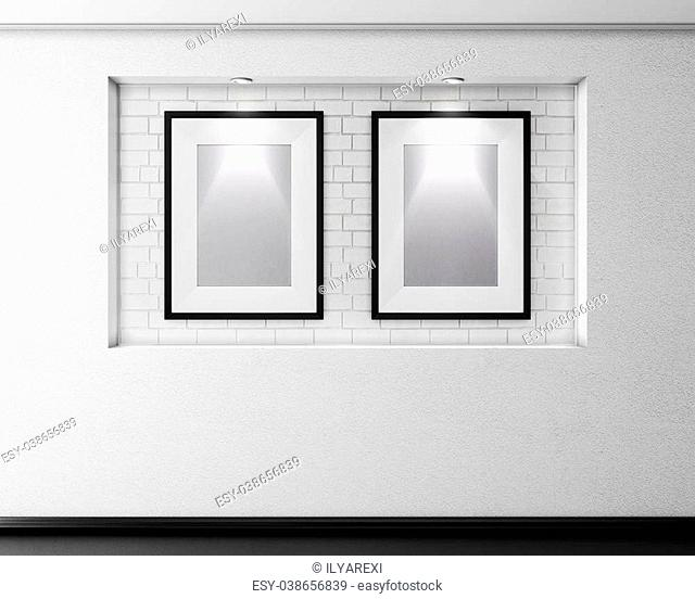 Brick alcove with two frames for pictures and illumination. 3d illustration
