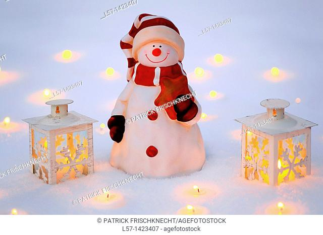 Snowman and lantern, christmas decoration