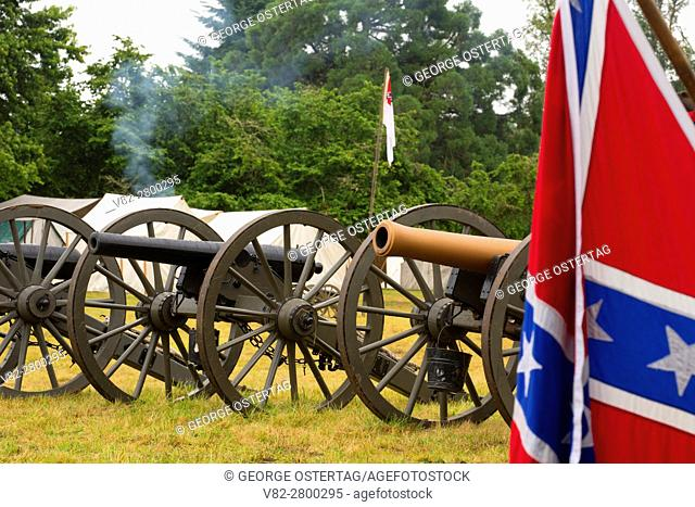 Confederate camp cannons with Confederate flag, Civil War Reenactment, Willamette Mission State Park, Oregon