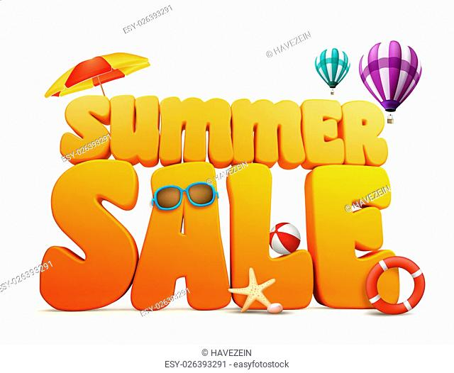 3D Dimensional Summer Sale Title Words in White Background with balloons flying, umbrella, Beach Ball, Sunglasses, Starfish and LifeBuoy Illustration