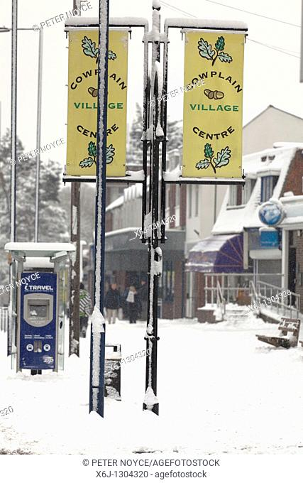 Cowplain village signs in the snow