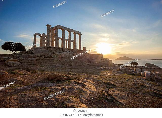 Famous Greek temple Poseidon, Cape Sounion in Greece