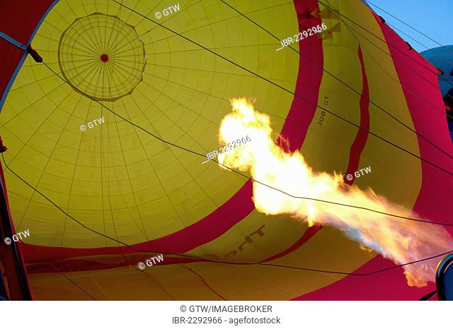 Hot air balloon being inflated, Cappadocia, Turkey, Asia