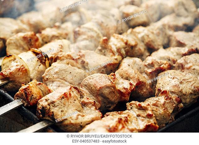 Grilled Marinated Caucasus Barbecue Meat Shashlik (Shish Kebab) Pork Meat Grilling On Metal Skewer, Close Up