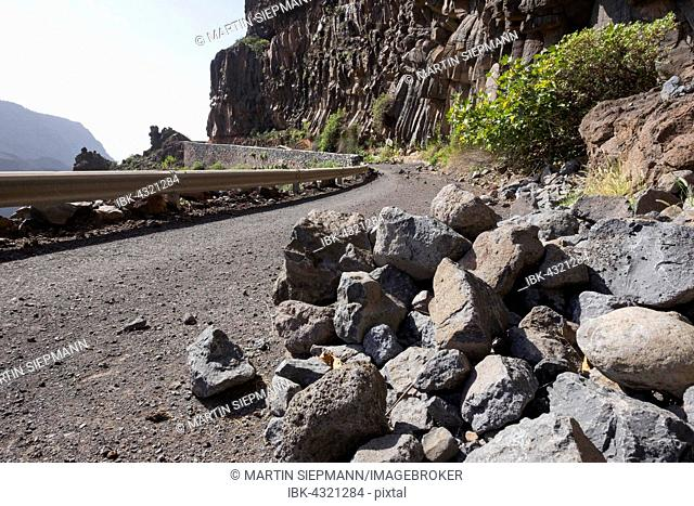 Old road with rockfall, Valle Gran Rey, La Gomera, Canary Islands, Spain