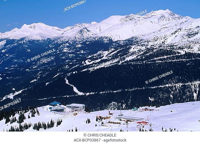 roundhouse atop whistler with Coast Mountains in background, Whistler, British Columbia, Canada