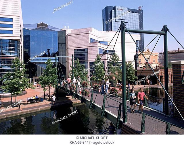 Symphony Hall, the Union Canal, Birmingham, West Midlands, England, United Kingdom, Europe