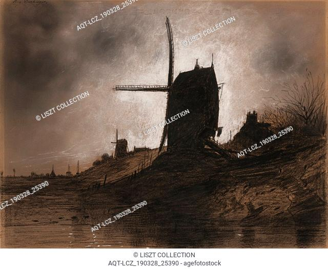 Windmills in a Landscape. Eugene Deshayes (French, 1828-1890). Charcoal with white heightening; sheet: 37.8 x 62.8 cm (14 7/8 x 24 3/4 in.)