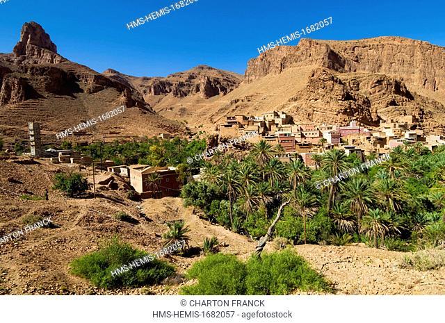 Morocco, Anti Atlas, Tafraoute, gorges and village of Ait Mansour