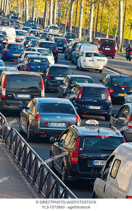 Paris, France, Street Scenes, Traffic Jam on Seine River Roadway, 'Voie George Pompidou'