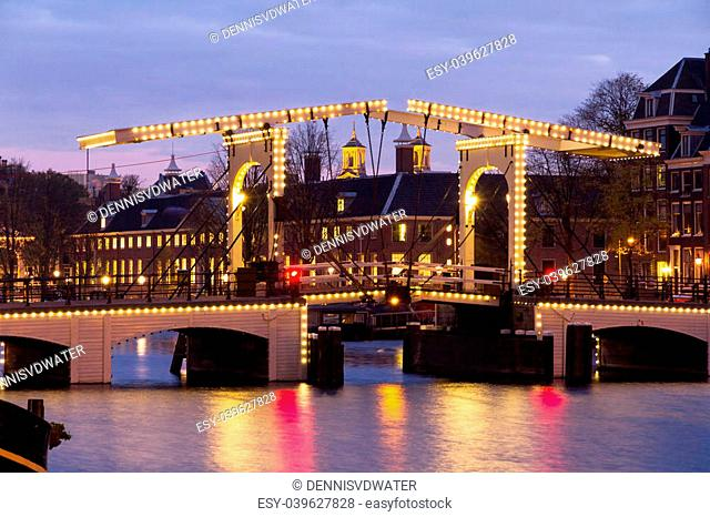 The skinny bridge in Amsterdam, the Netherlands, early in the morning in winter