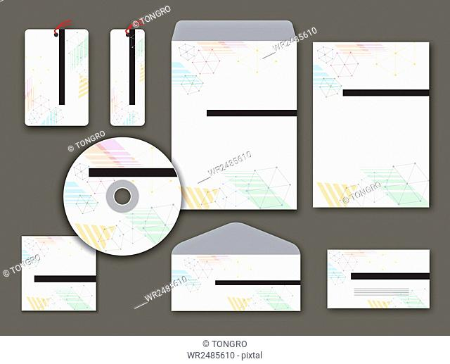 Design for set of objects related to business with geometric patterns