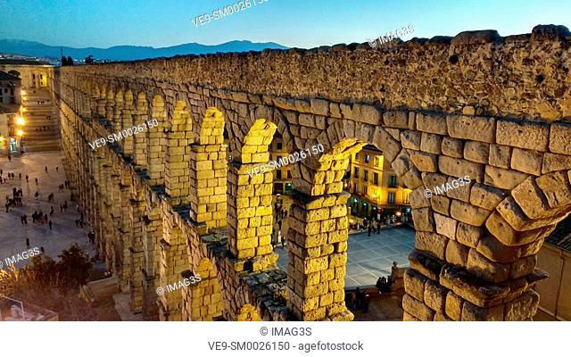 Ancient Roman aqueduc, Segovia, Spain