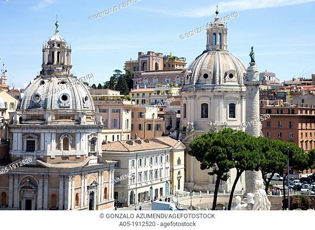 Domes of 'Santa Maria di Loreto' and 'Santissimo Nome di Maria' Churches, Columna traiana, Rome, Lazio, Italy