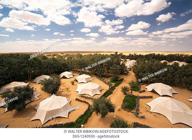 Tunisia, Ksour Area, Ksar Ghilane, Hotel Pansea, elevated view