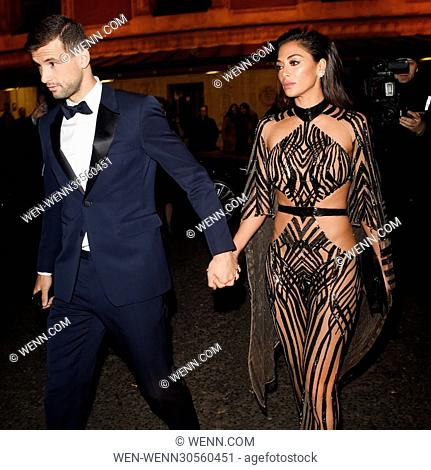 Nicole Scherzinger and her boyfriend Tennis Star Grigor Dimitrov seen leaving The Royal Albert Hall following The British Fashion Awards