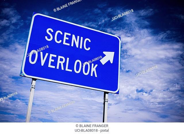 Scenic overlook road sign