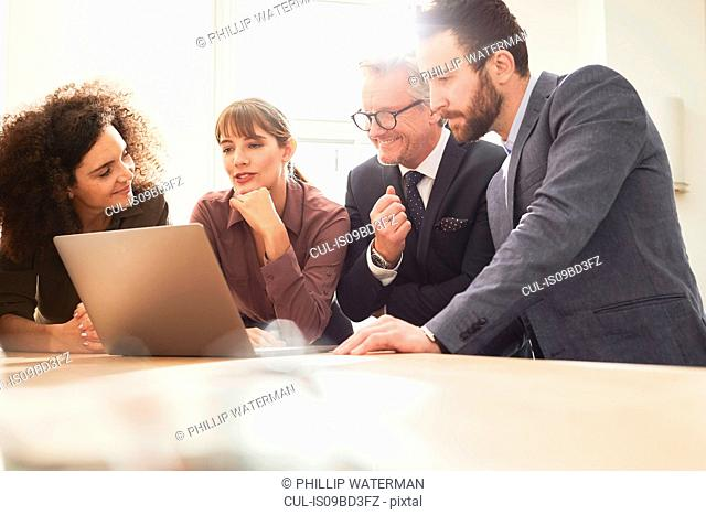 Business people in office using laptop