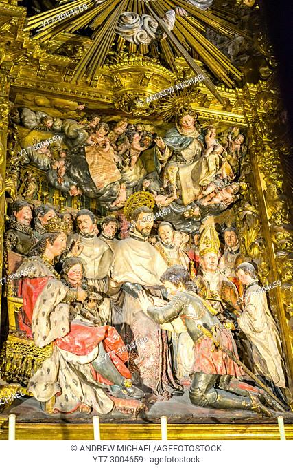Detail of Ornate Gold Guilded Altar Inside Historic Barcelona Cathedral, Barcelona, Spain