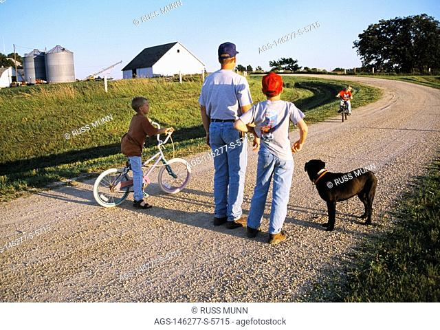 A farmer, two of his sons and their dog, watch as a third son rides his bike along the gravel driveway on their farm / Iowa, USA MR
