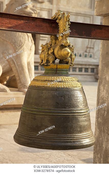 Bell, Ananda temple, Old Bagan village area, Mandalay region, Myanmar, Asia
