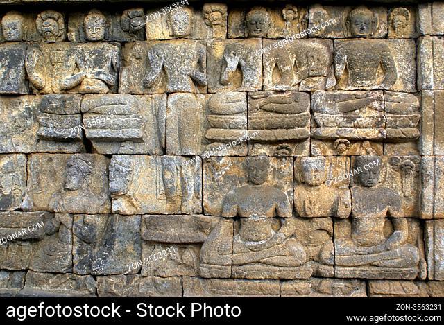 WAll of buddhist monument Borobudue, Java, Indonesia