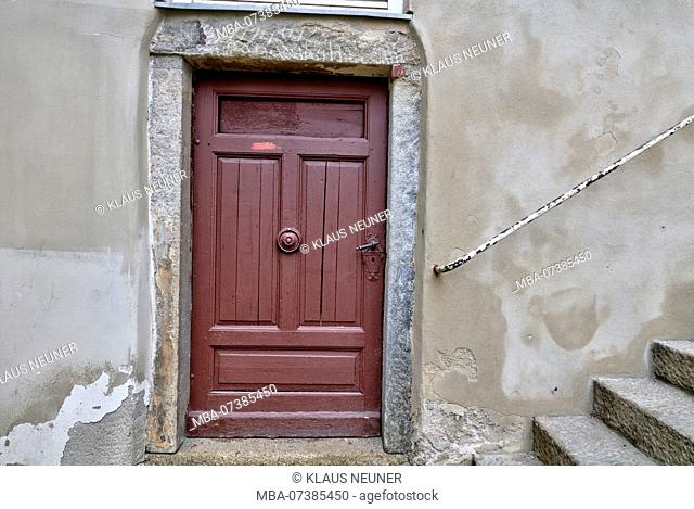 Front door, House facade, City architecture, Passau, Lower Bavaria, Bavaria, Germany